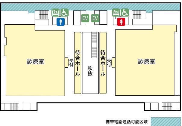 外来棟2階と3階の携帯電話使用可能区域マップ
